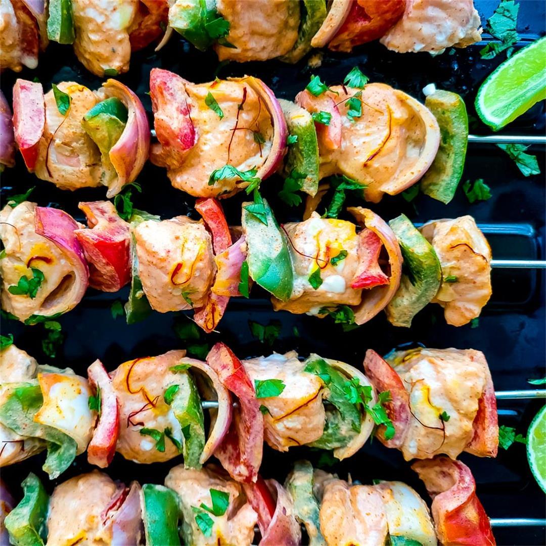 Oven baked salmon kebabs on skewers