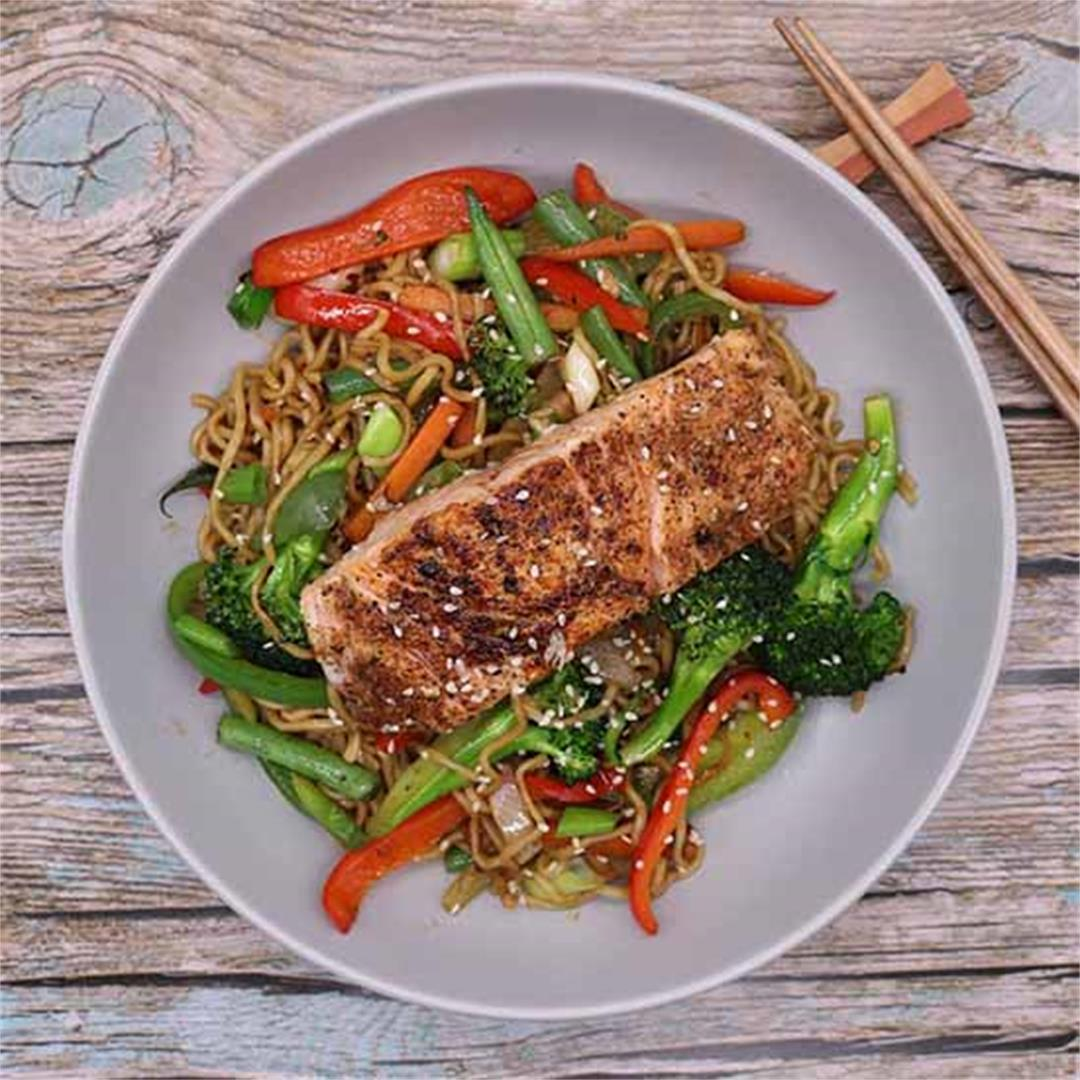 Salmon with Chilli and Oyster Sauce Noodles