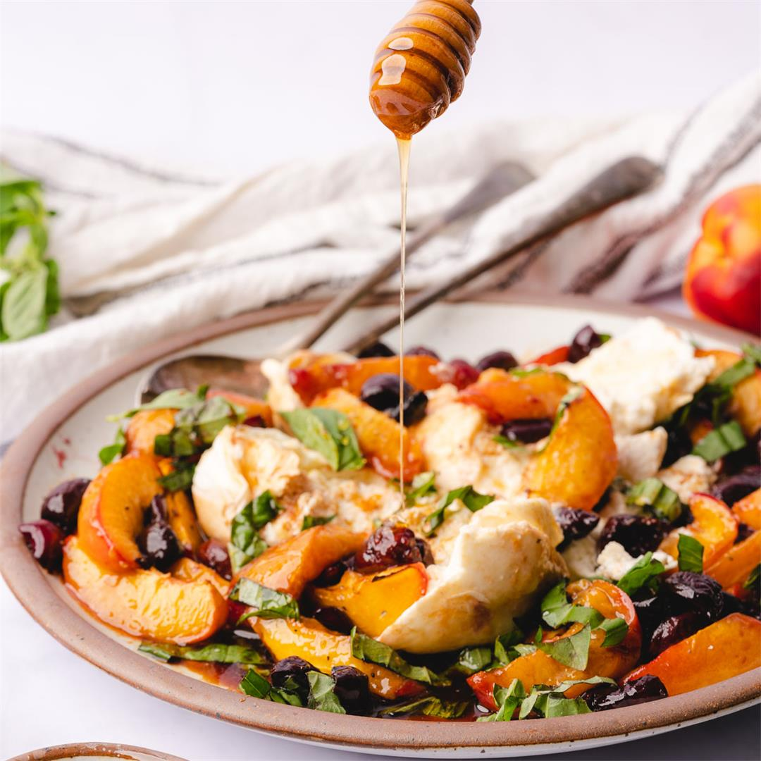 Baked Nectarines and Cherries with Burrata