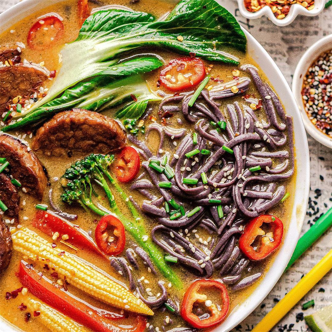 Vegan Thai yellow curry noodle soup