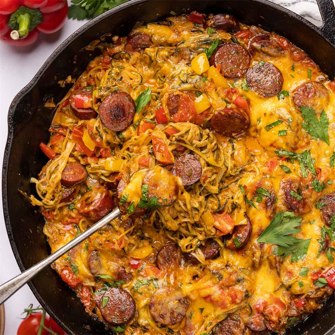 Baked Zucchini Noodles Casserole with Smoked Sausage