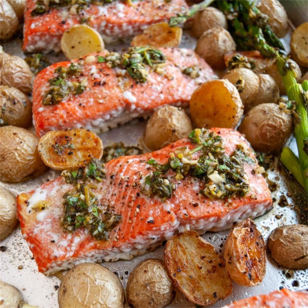 Sheet Pan Salmon, Potatoes, & Asparagus w/ a Chimichurri Sauce