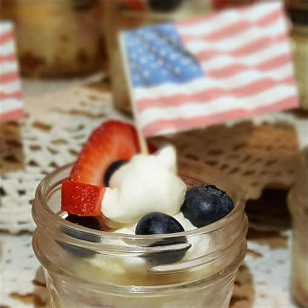 Pressure Cooker Red White and Blue Cheesecake Singles
