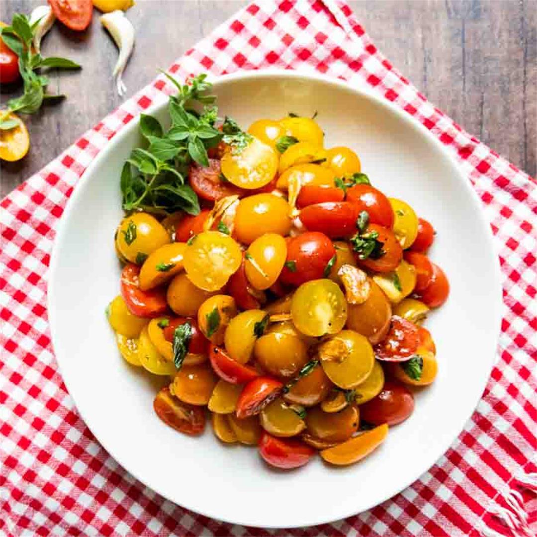Cherry Tomato Salad with Crispy Garlic
