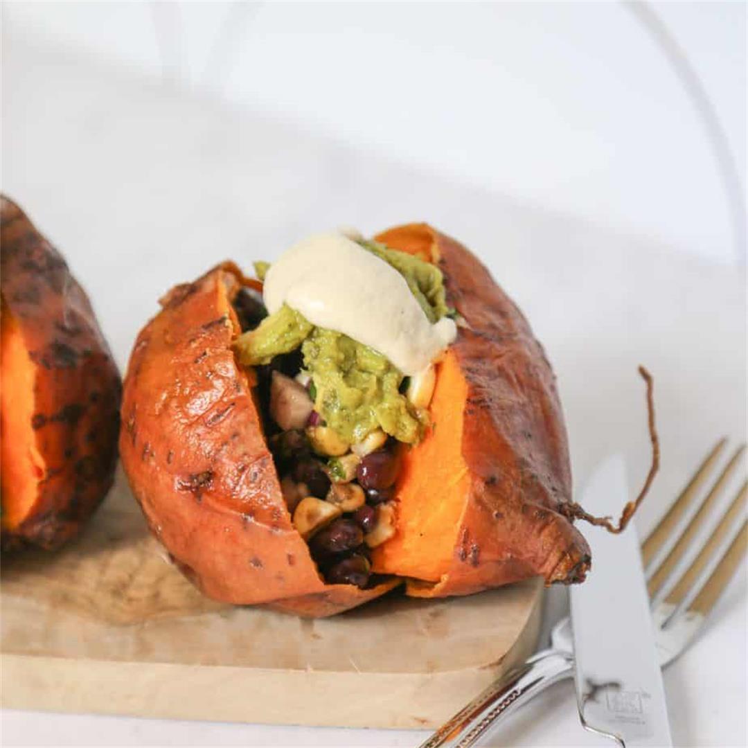 Vegan Stuffed Sweet Potatoes (Gluten Free + Grain Free)