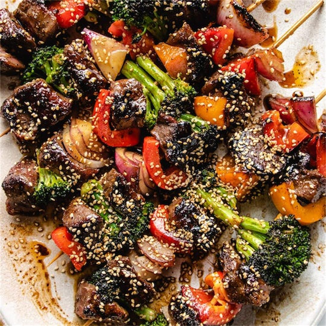Beef Kabobs with Broccoli