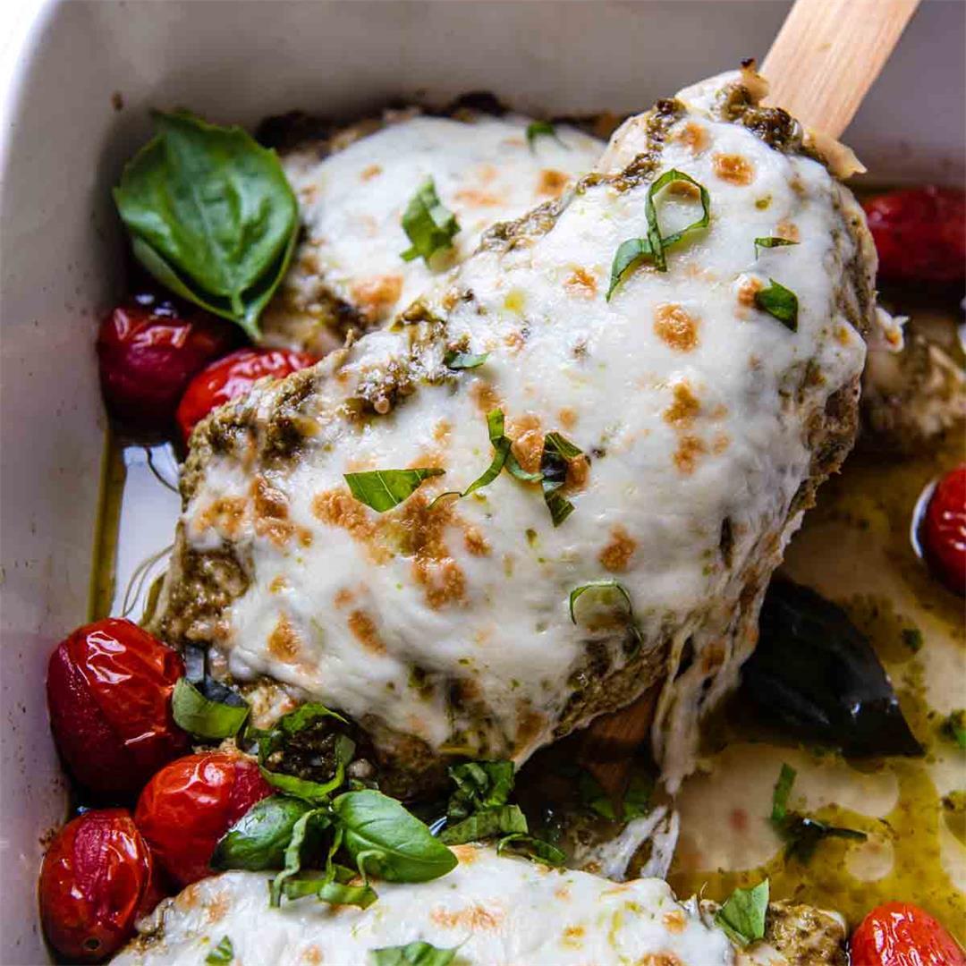 Pesto Mozzarella Chicken with Tomatoes