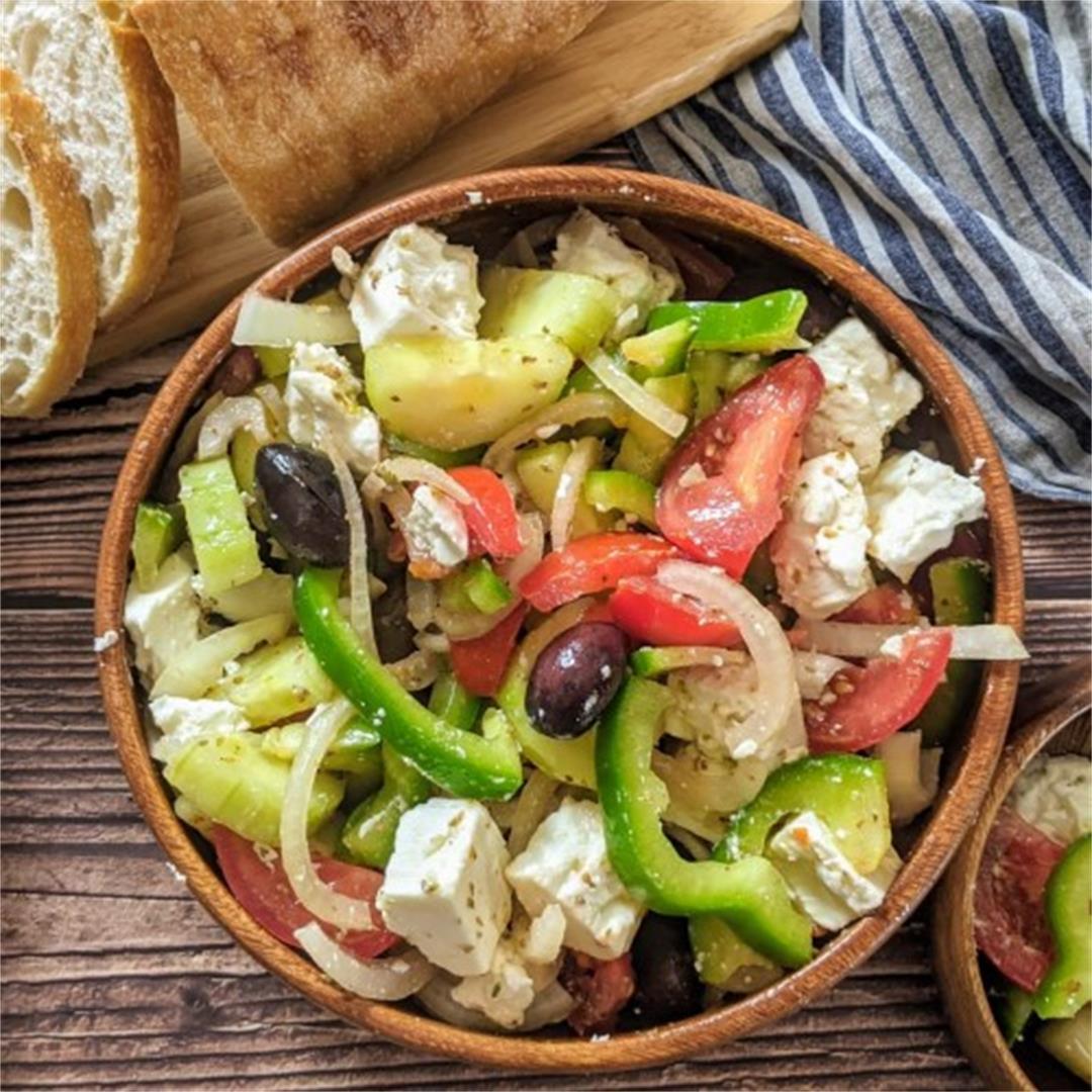 Healthy Greek Salad & Dressing Recipe