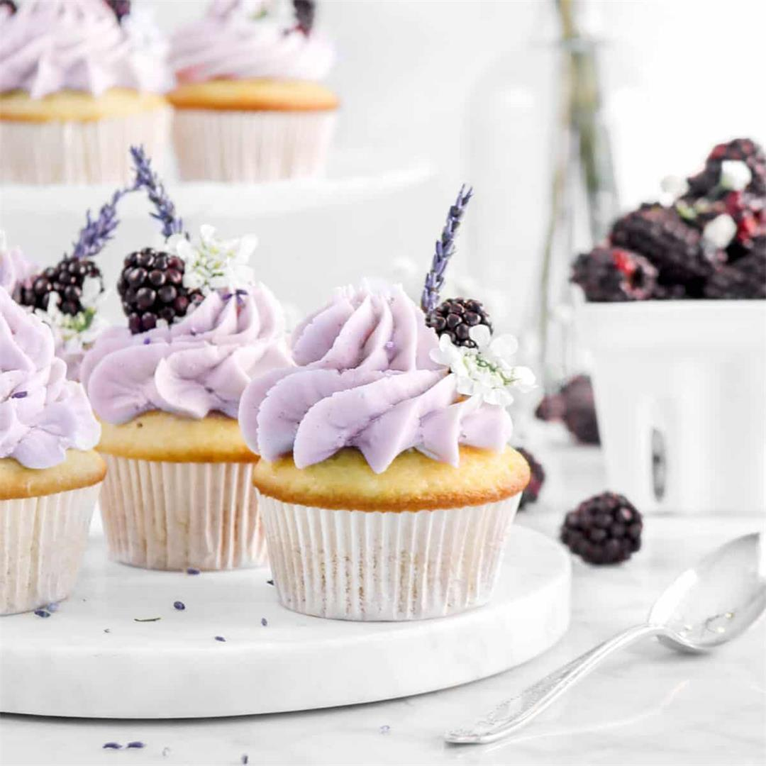 Vanilla Cupcakes with Blackberry Jam Filling and Lavender Frost