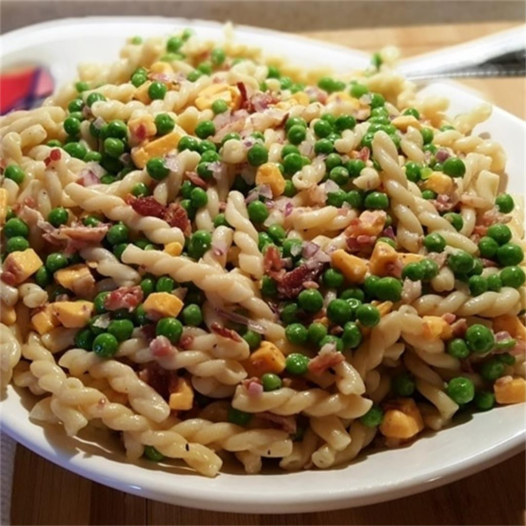 Pressure Cooker Pasta Cheese and Peas Salad