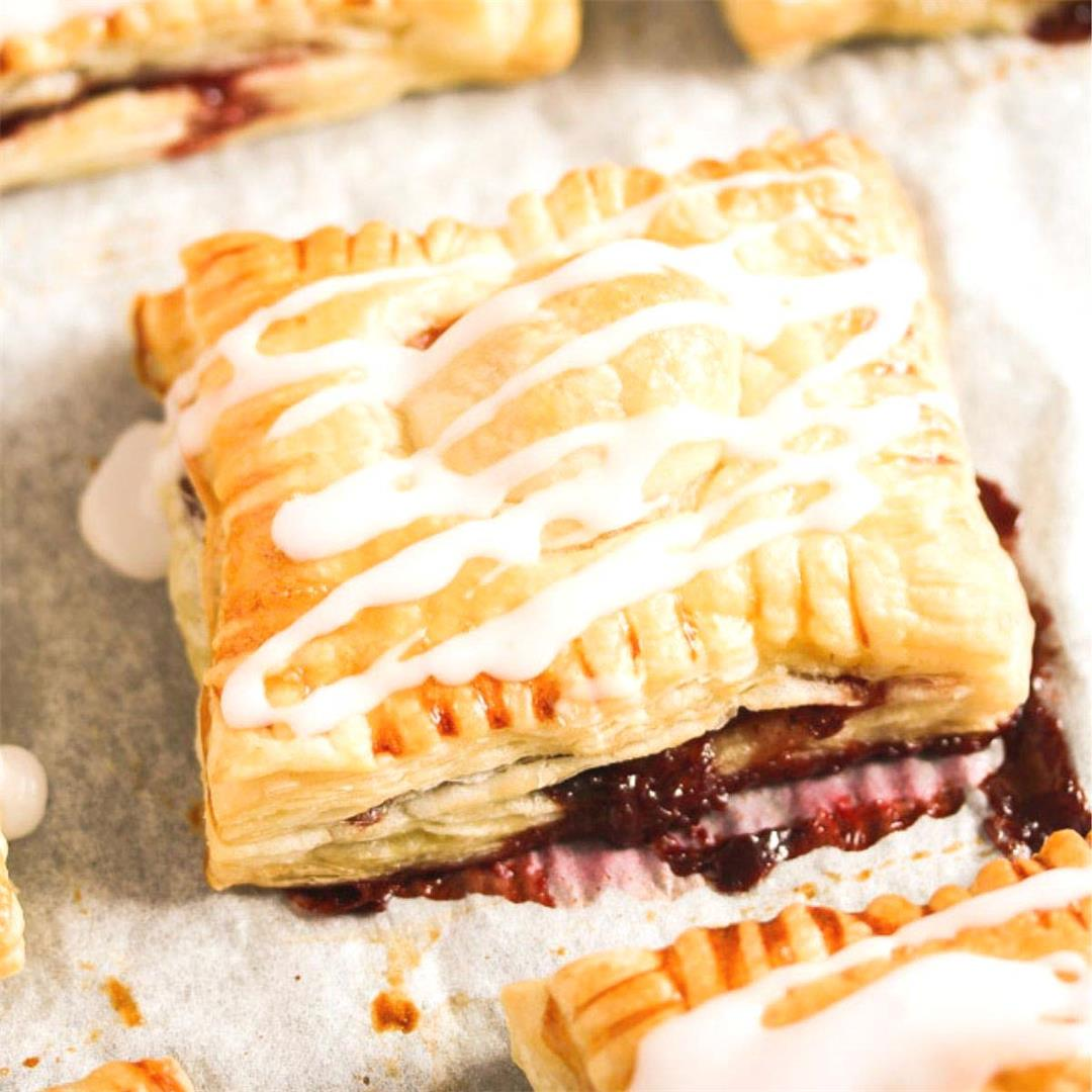Quick Strawberry Puff Pastry Turnovers (Only Two Main Ingredien
