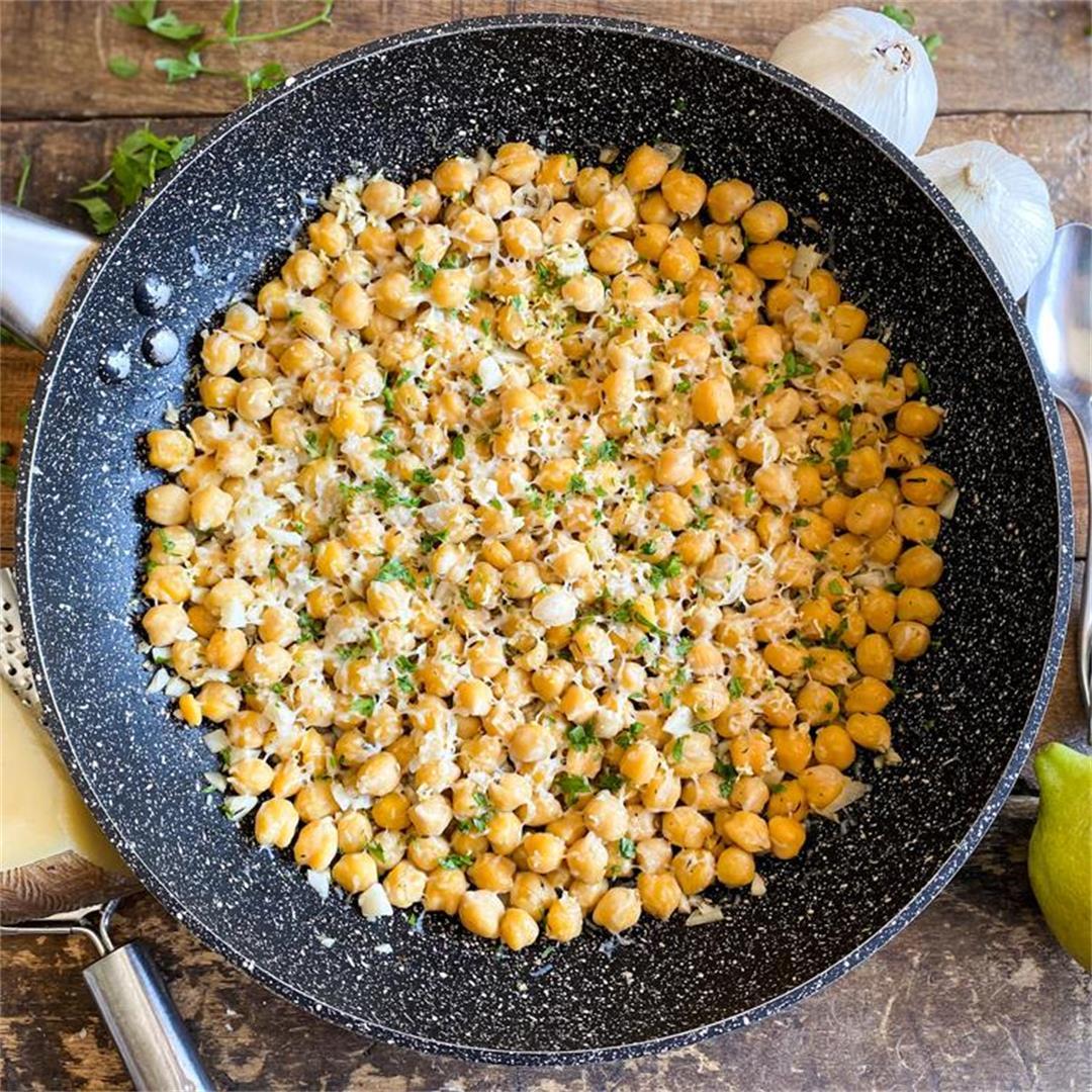 Lemon-Garlic Skillet Chickpeas | Easy One-Pan Recipe