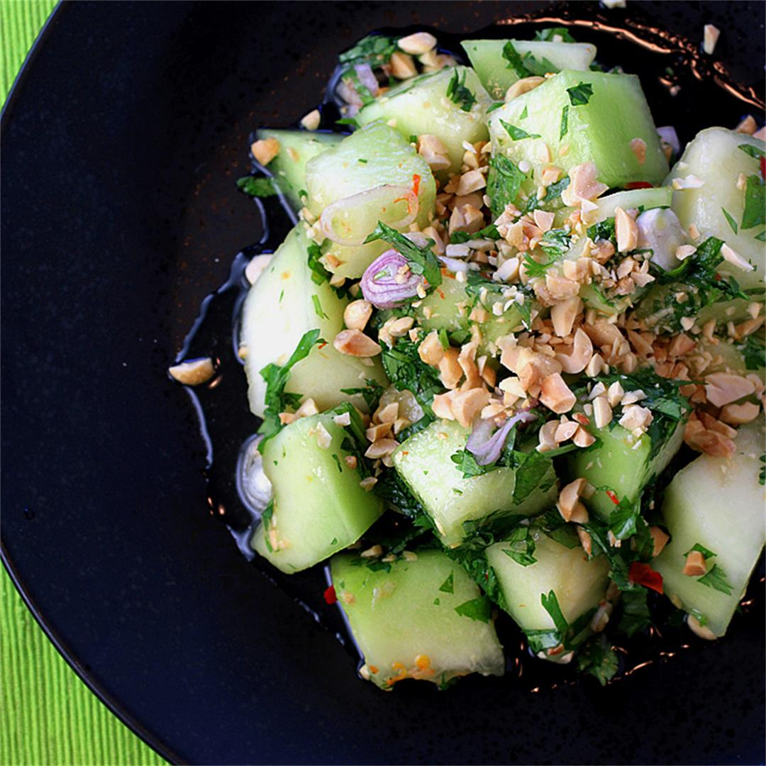 Honeydew salad with peanuts, lime, and chiles