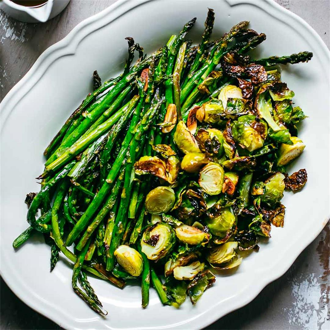 Roasted Brussels Sprouts and Asparagus