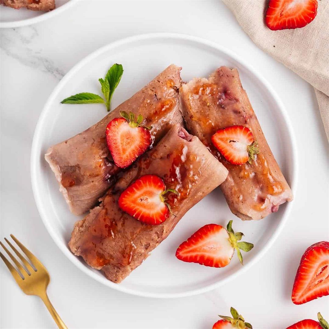 Strawberry Tamales (Vegan Tamales de Dulce)