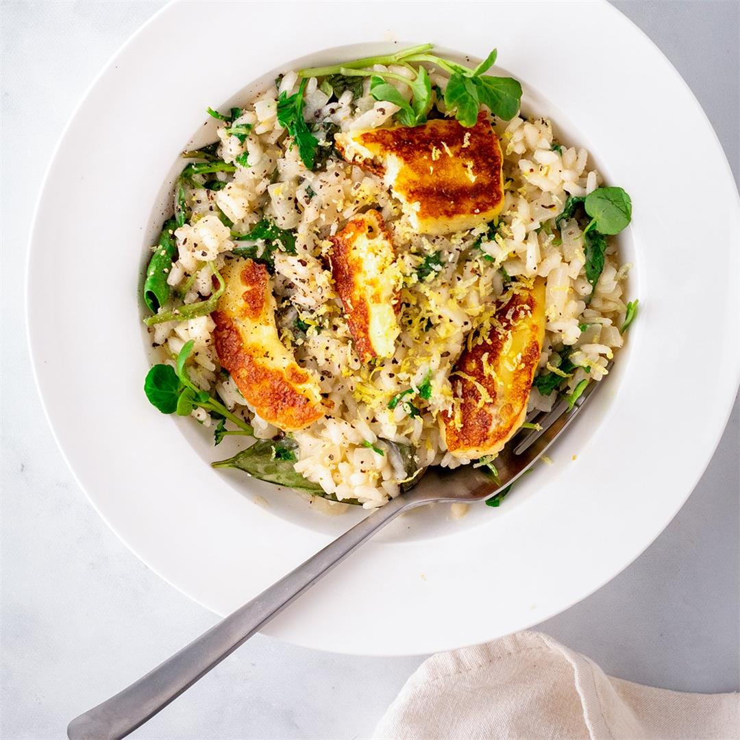 Lemon Risotto with Fried Halloumi