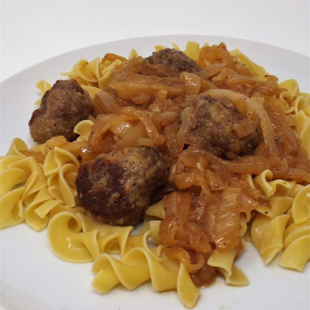 French Onion Meatballs with Egg Noodles