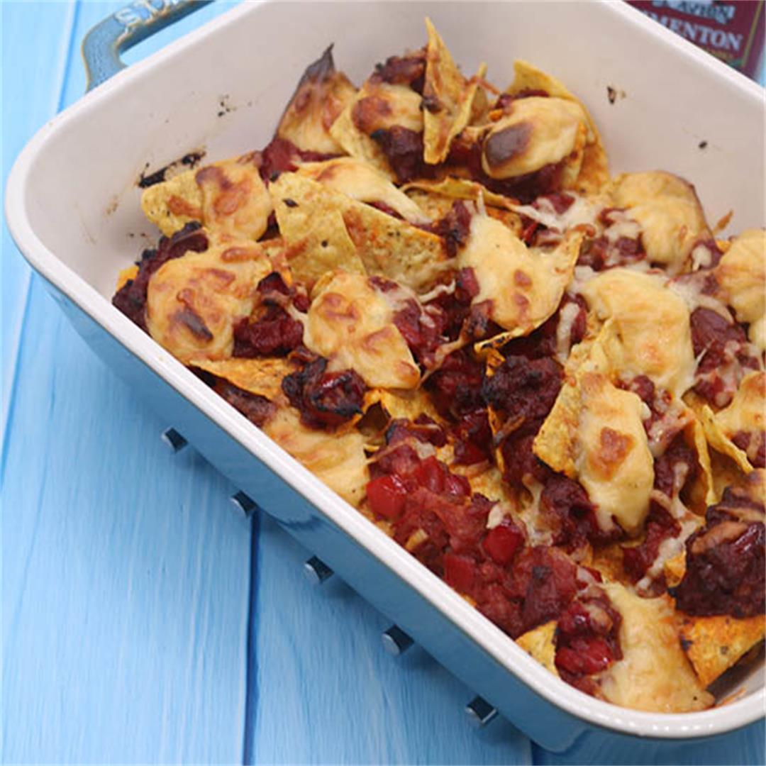 Party Nachos with Chorizo and Spicy Cheese Sauce