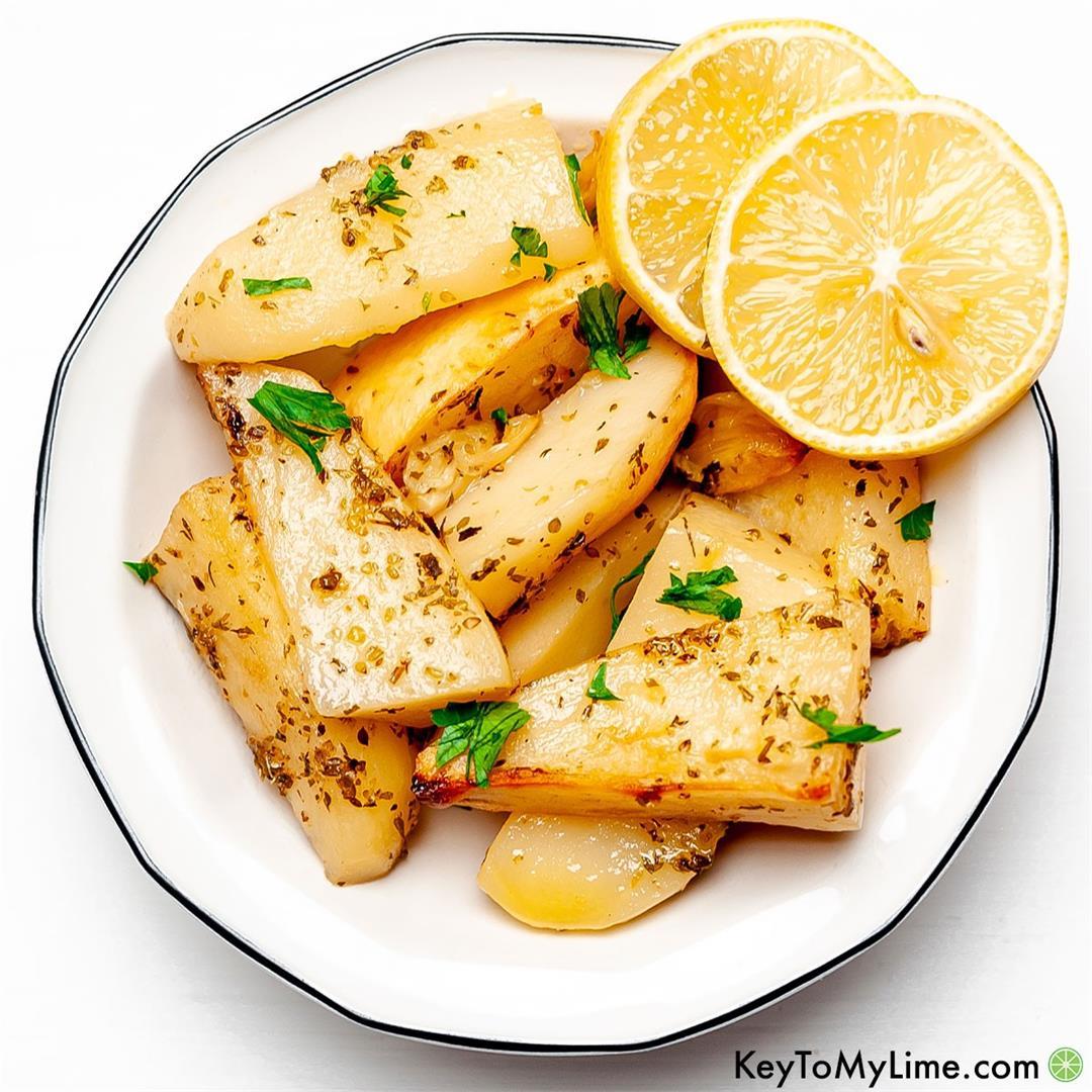 Easy Greek Potatoes {Oven Roasted Lemon Potatoes}