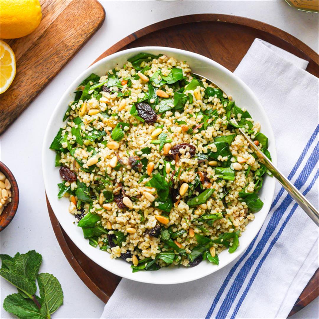 Bulgur Wheat Salad with Spinach, Pine Nuts & Raisins