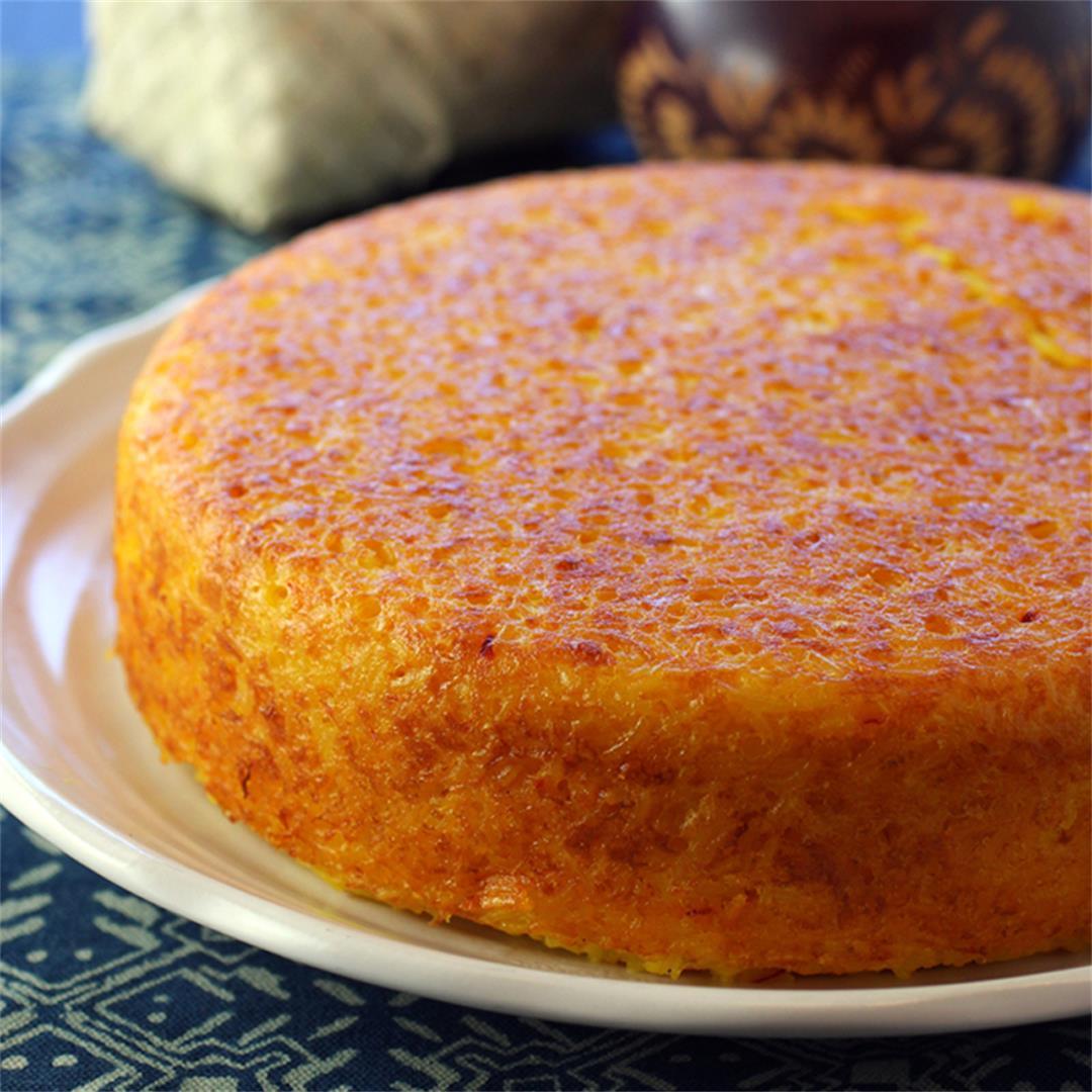 Crispy Rice Cake with Saffron and Parmesan