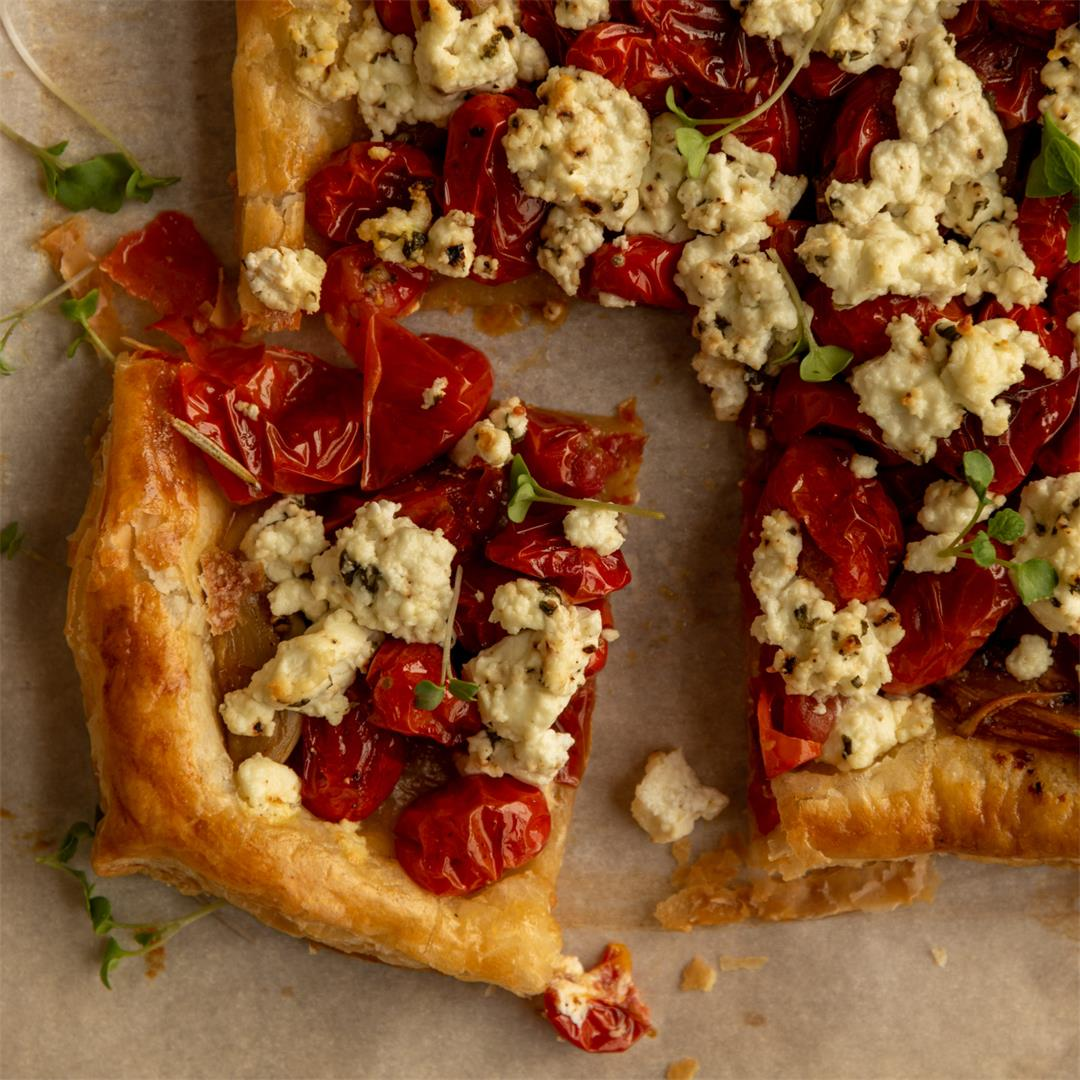 Roasted Cherry Tomato and Goat Cheese Tart