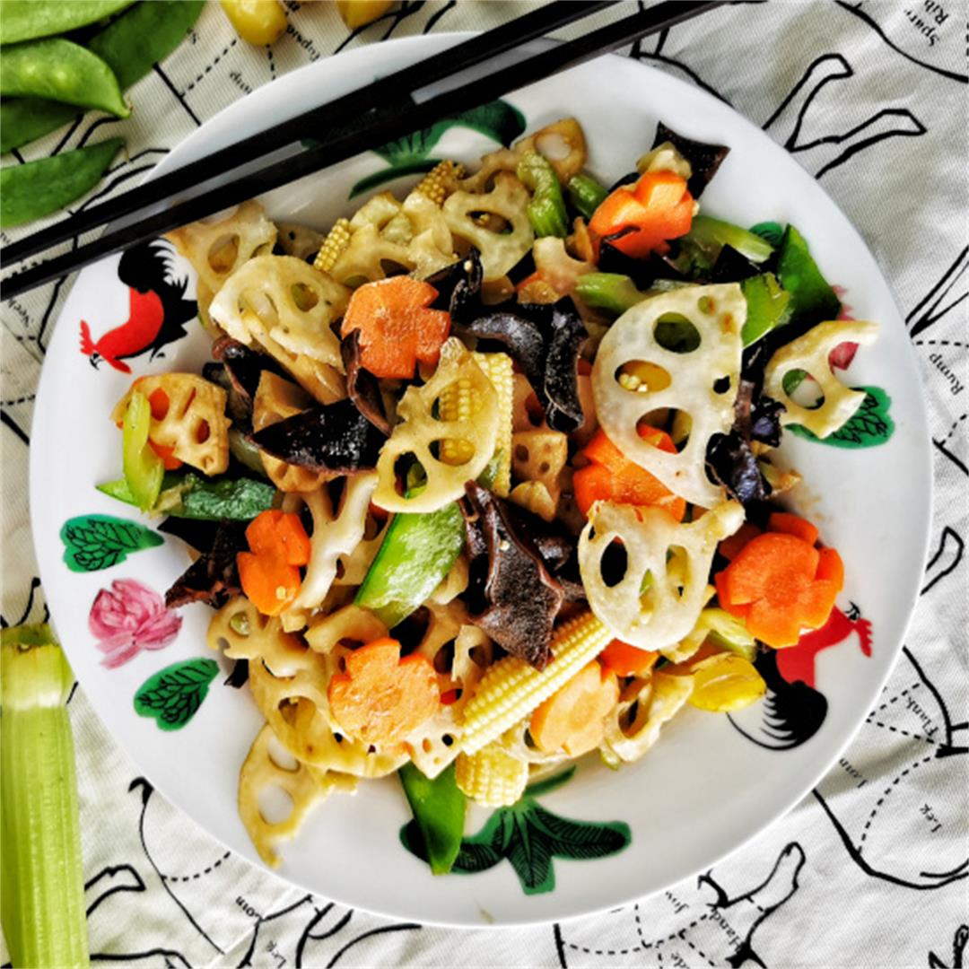 Lotus root stir-fry (Chinese style)- quick and easy vegetarian