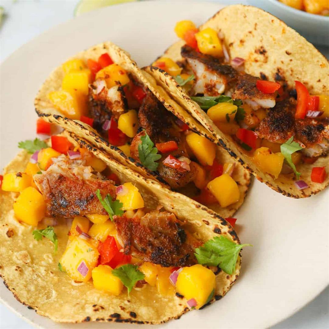 Blackened Rockfish Tacos with Mango Salsa