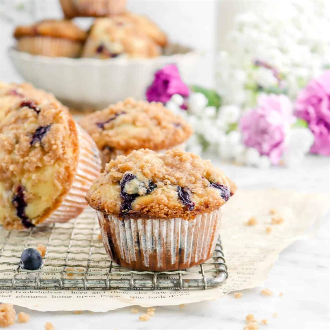 Better Than a Bakery Lemon Blueberry Muffins with Cinnamon Stre