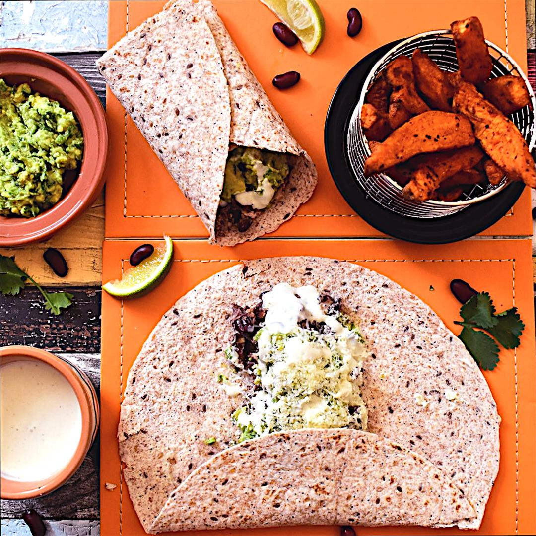 Cheese, Bean, and Avocado Burritos with Sweet Potato Chips