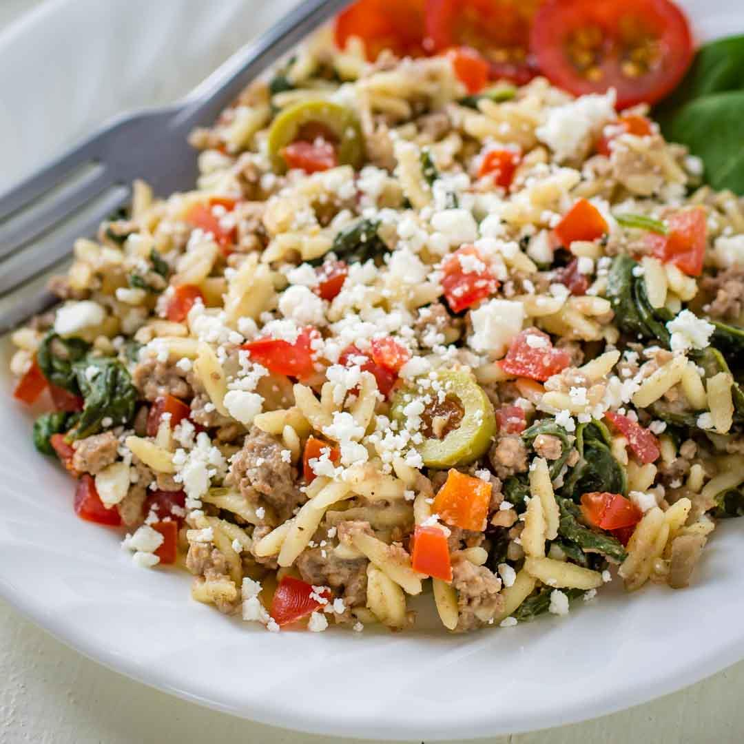 Easy One Skillet Ground Beef with Orzo