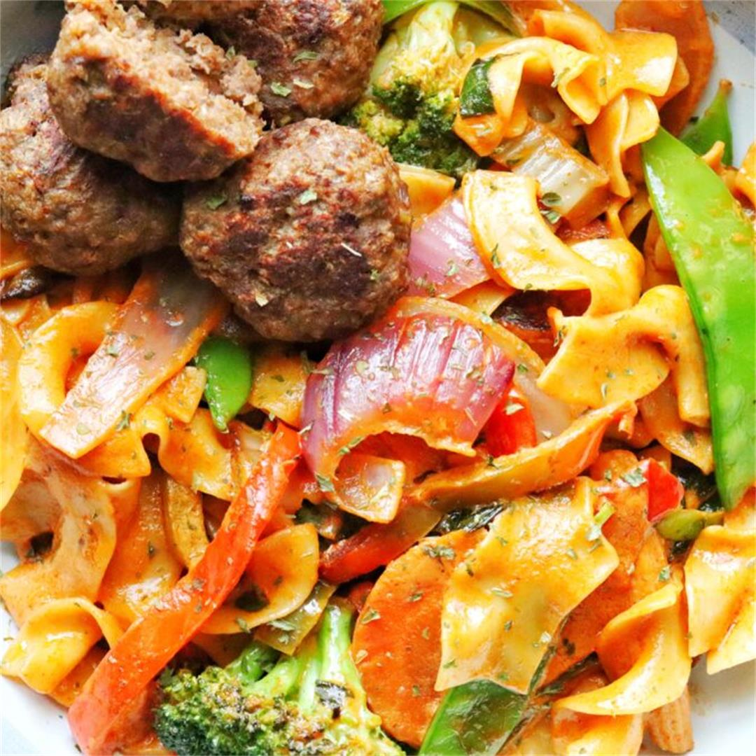 Thai Meatballs with Red Curry Noodles