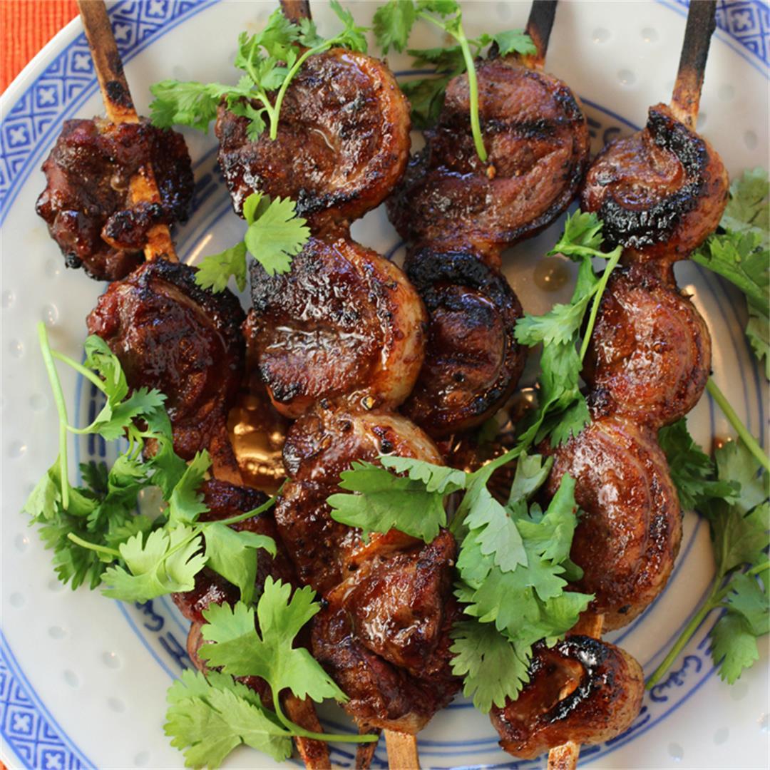 Honey & Sriracha-Glazed Duck Skewers