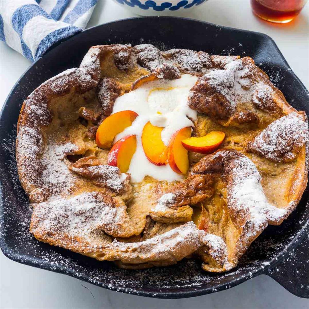 Peach Dutch Baby Pancake