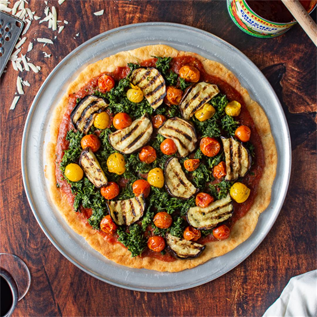 ROASTED GARLIC KETO PIZZA CRUST with Tuscan Eggplant, Spinach,