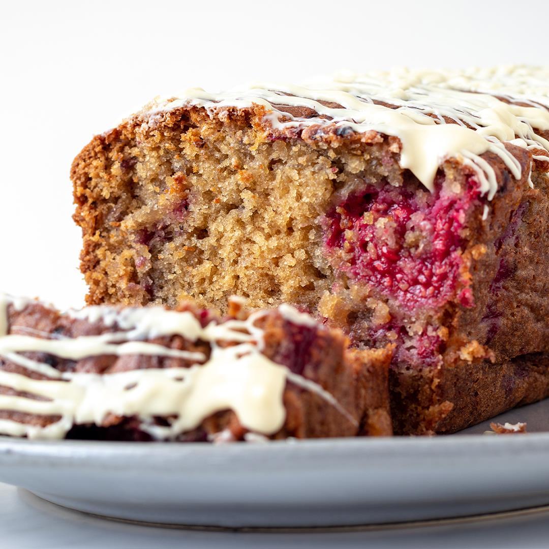 Raspberry and white chocolate loaf cake