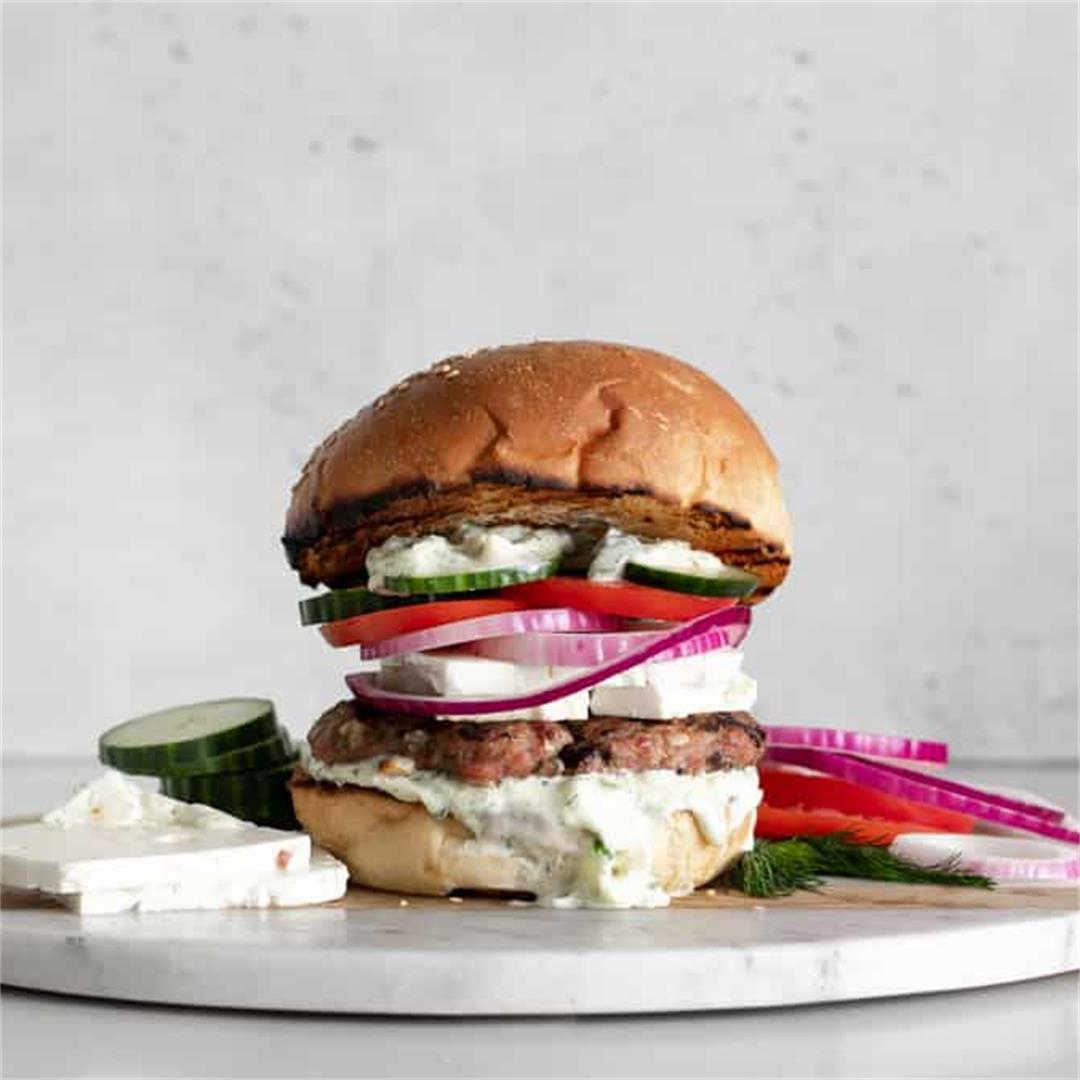 Grilled Greek Turkey Burgers with Tzatziki