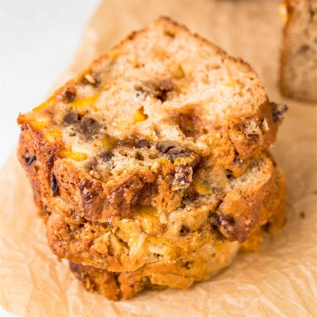 Irresistible Peach Bread with Pecan Pralines