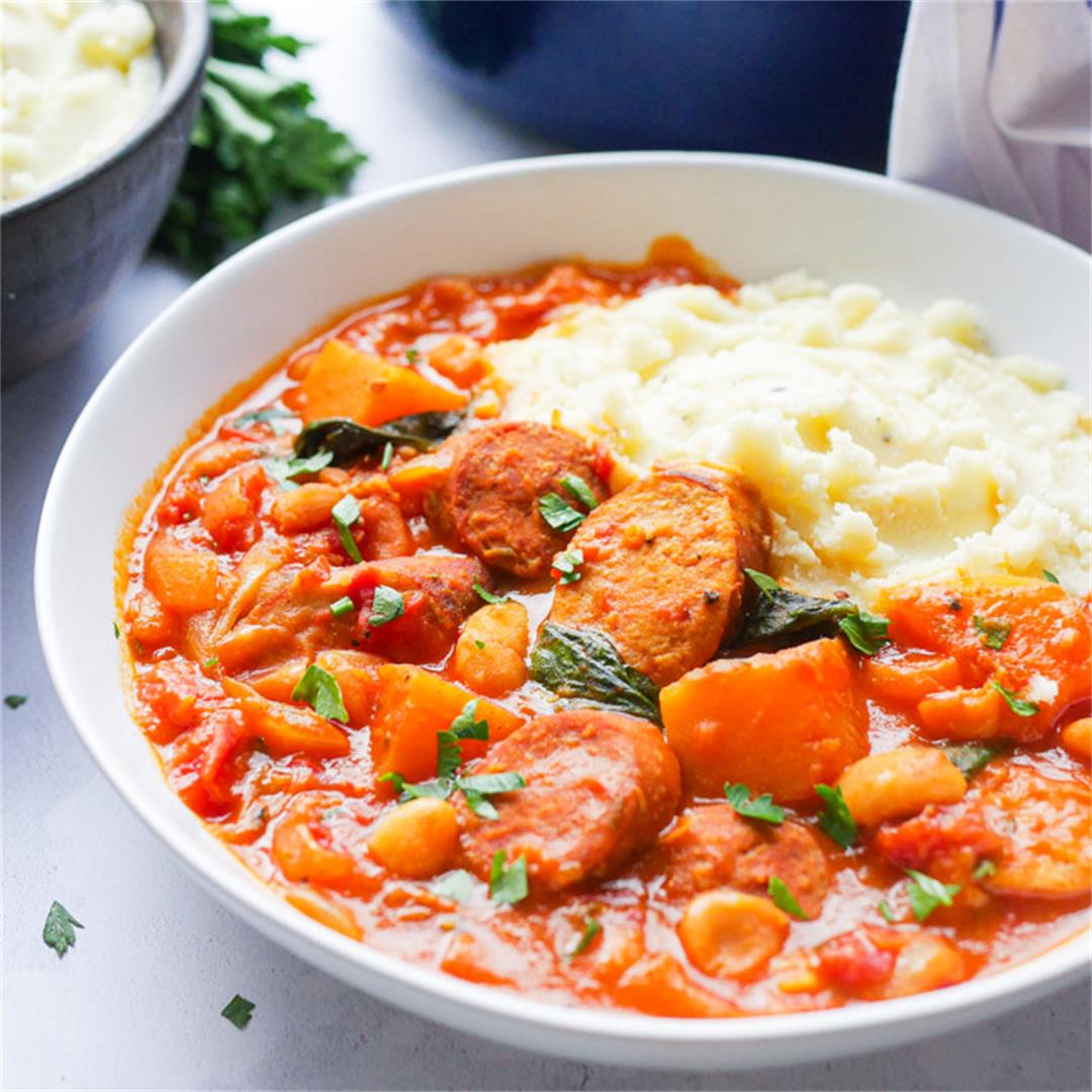 Sausage and Bean Casserole with Chorizo and Squash