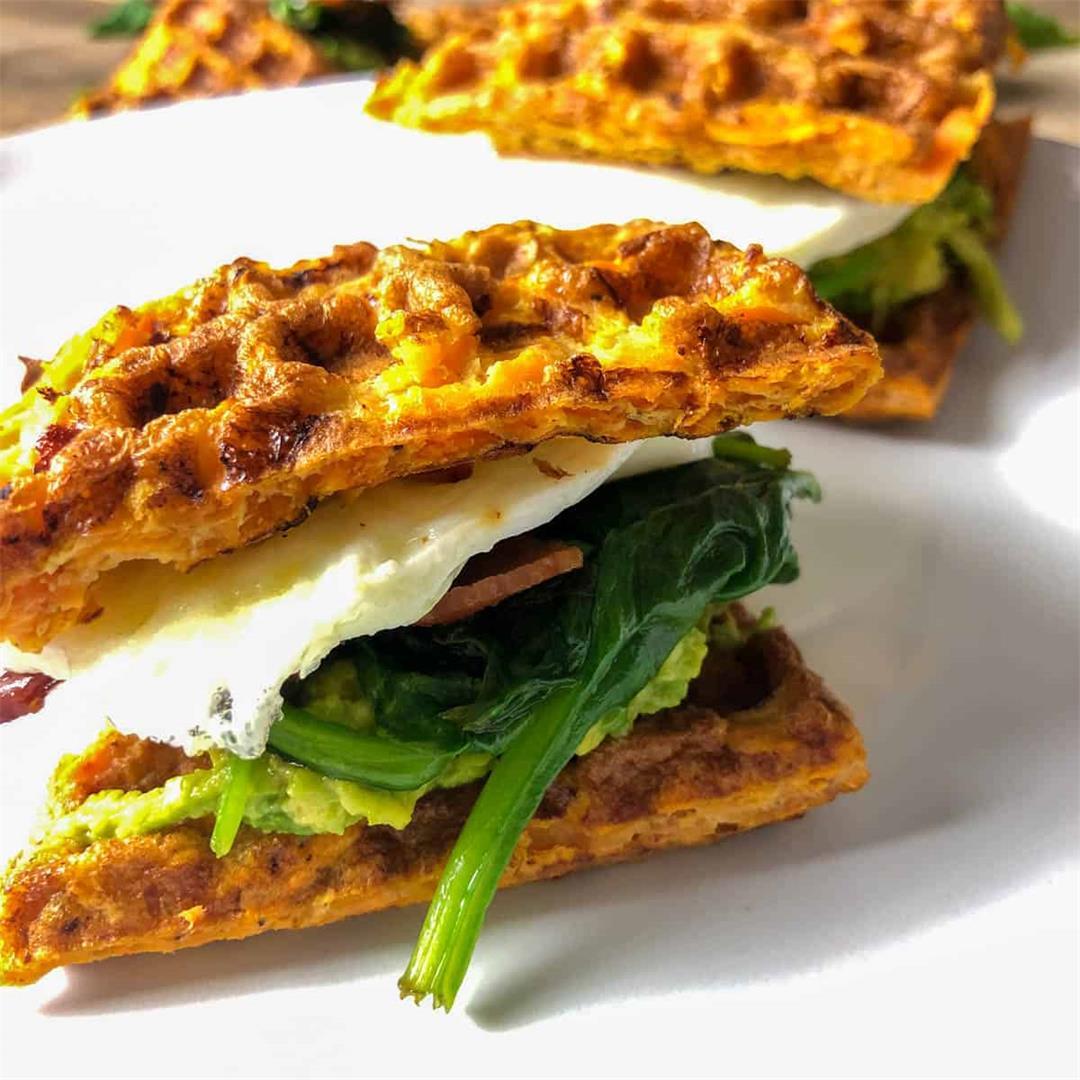 Whole30 Sweet Potato Waffles (Breakfast Sandwich)
