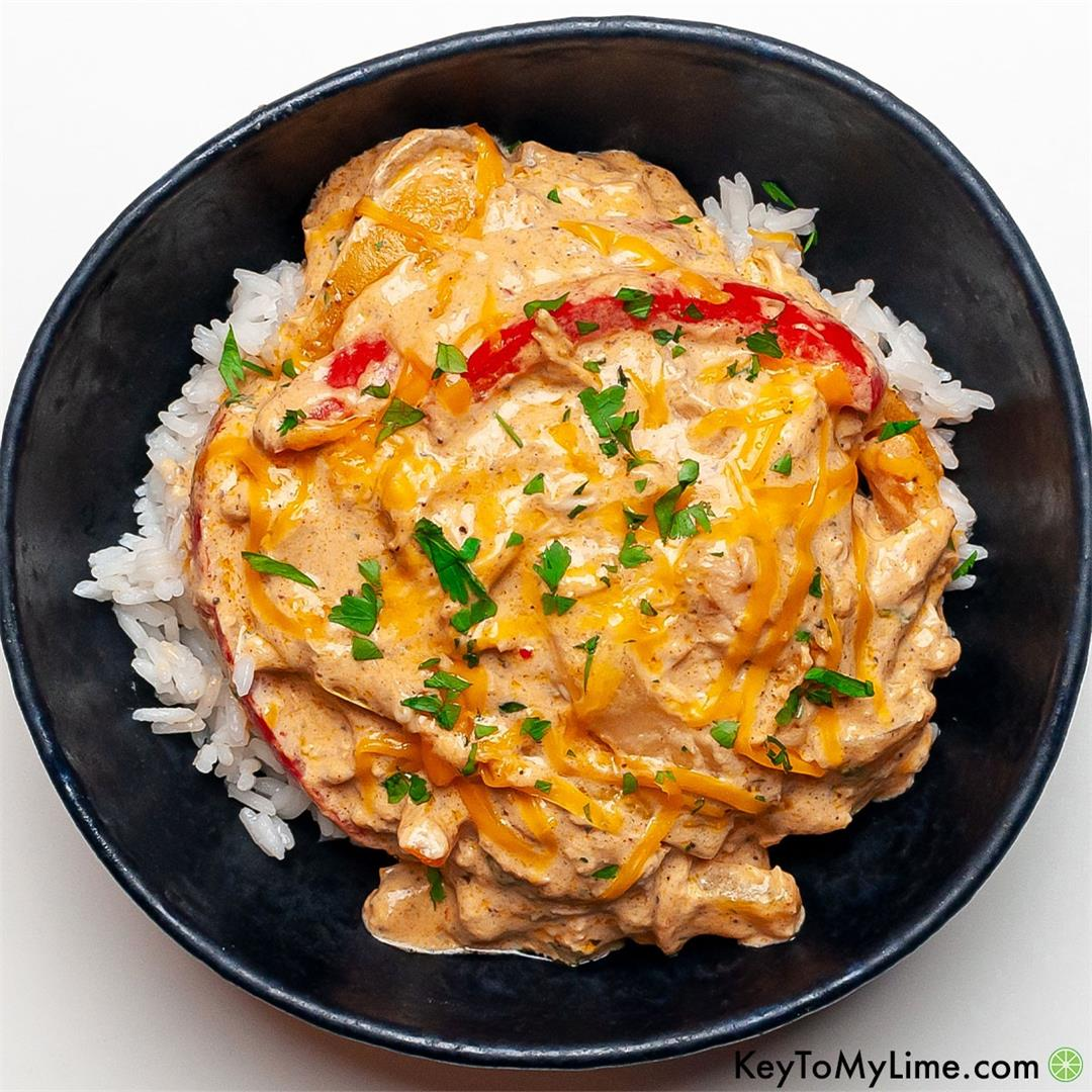 One Skillet Creamy Fiesta Chicken {Quick Easy Recipe}