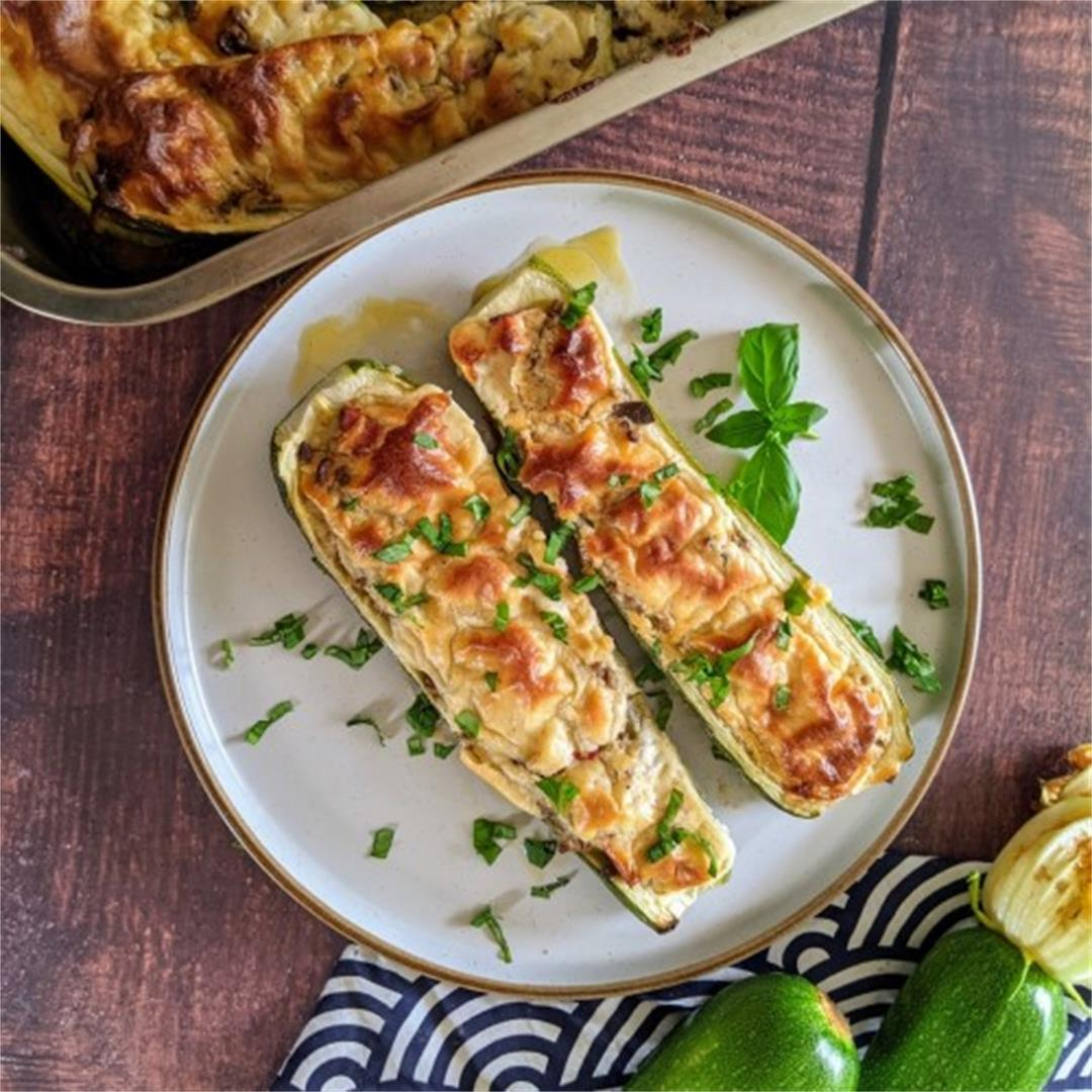 Stuffed Zucchini Boats With Ground Beef and Bechamel