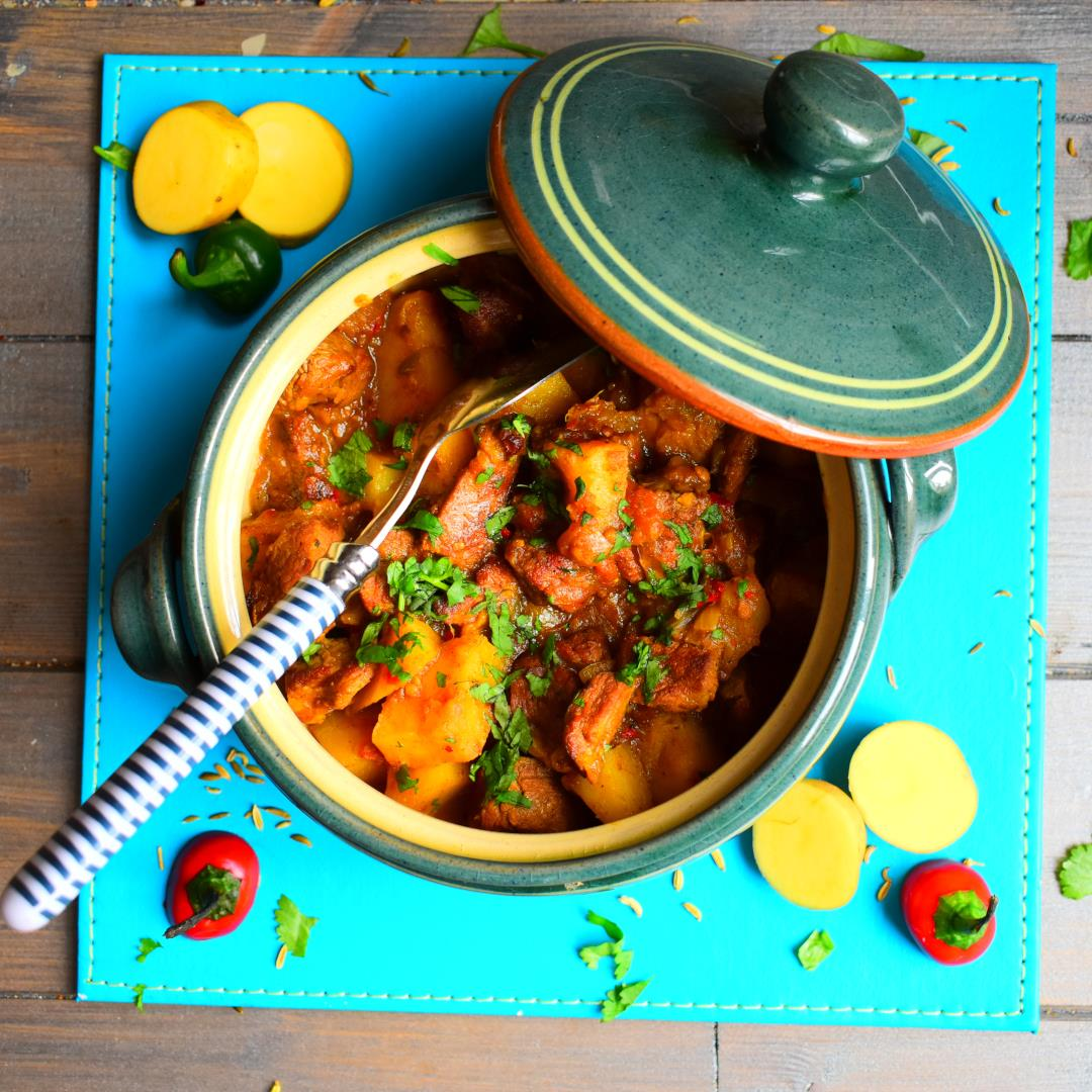 A spicy lamb & potato curry with rice