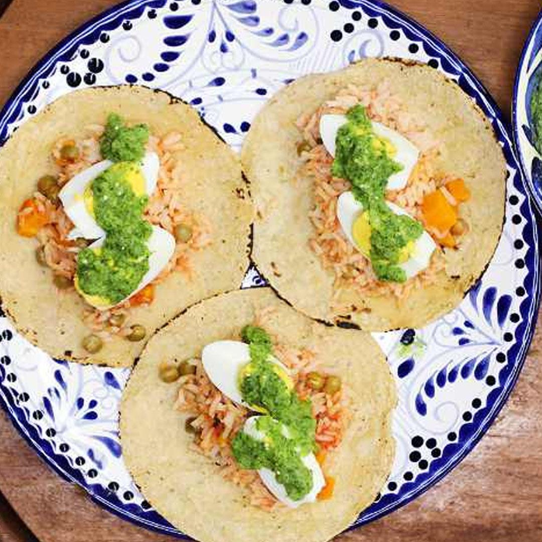 Rice and Hard-Boiled Egg Tacos
