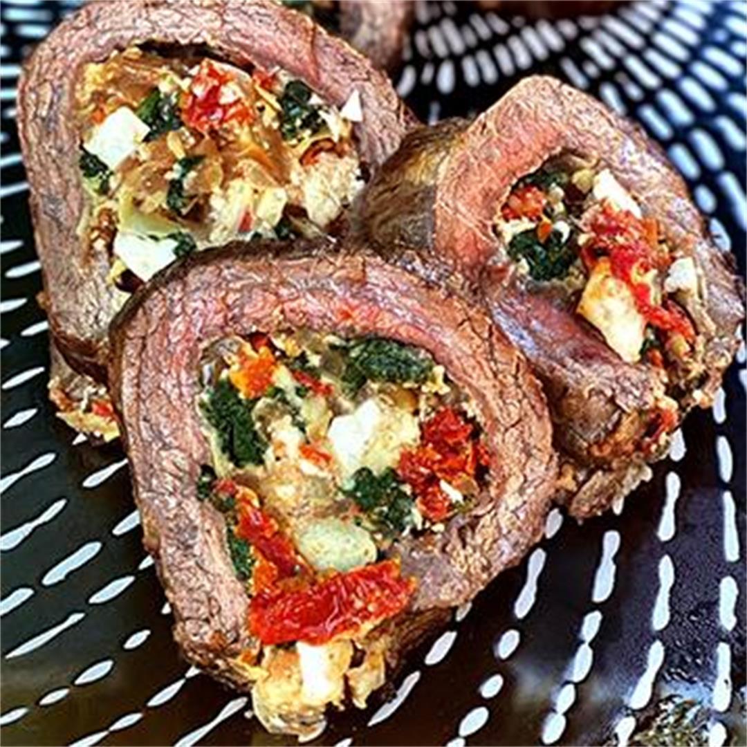 Wagyu Flank Steak Stuffed With Spinach, Artichokes, and Feta