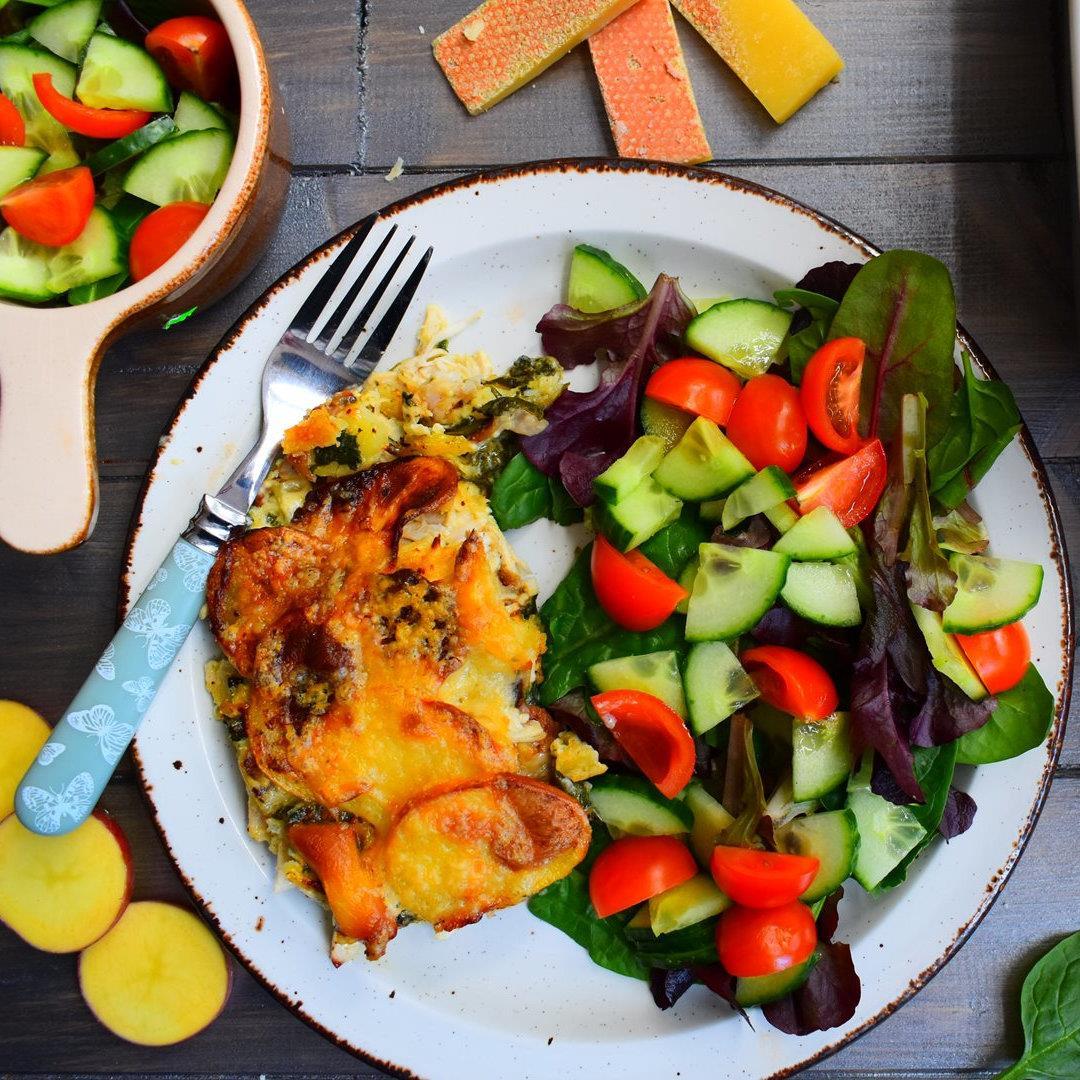 Chicken Tartiflette with Salad
