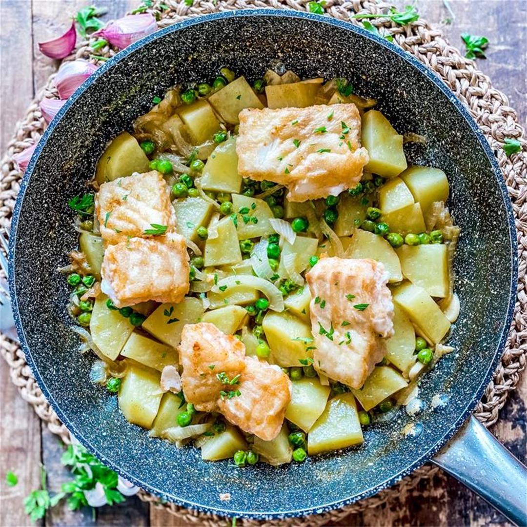Classic One-Pan Spanish Cod with Potatoes & Peas