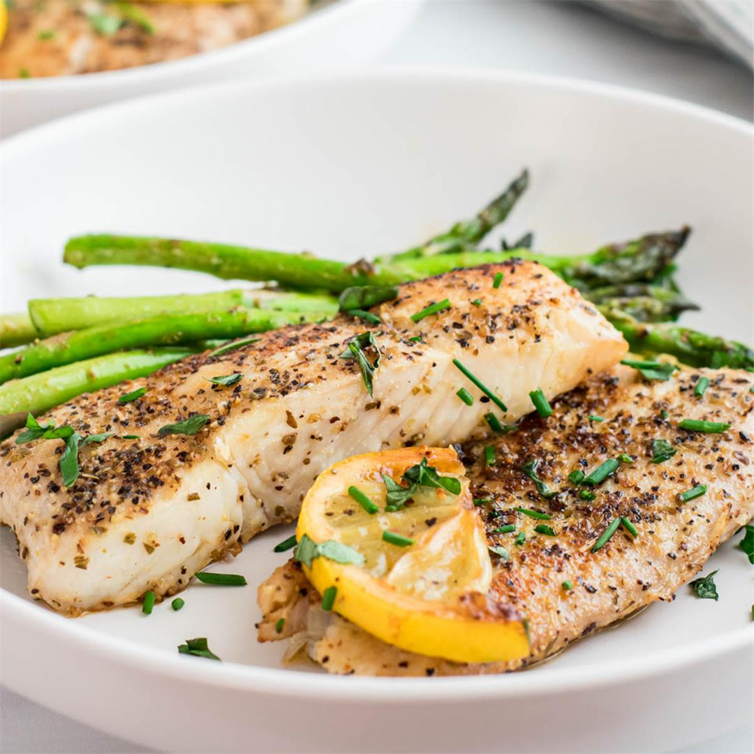 Pan-Seared Halibut with Herbs & Butter