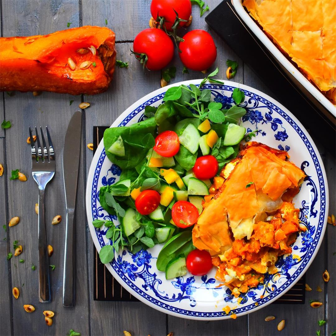 Savoury Baklava with Butternut and Tomatoes