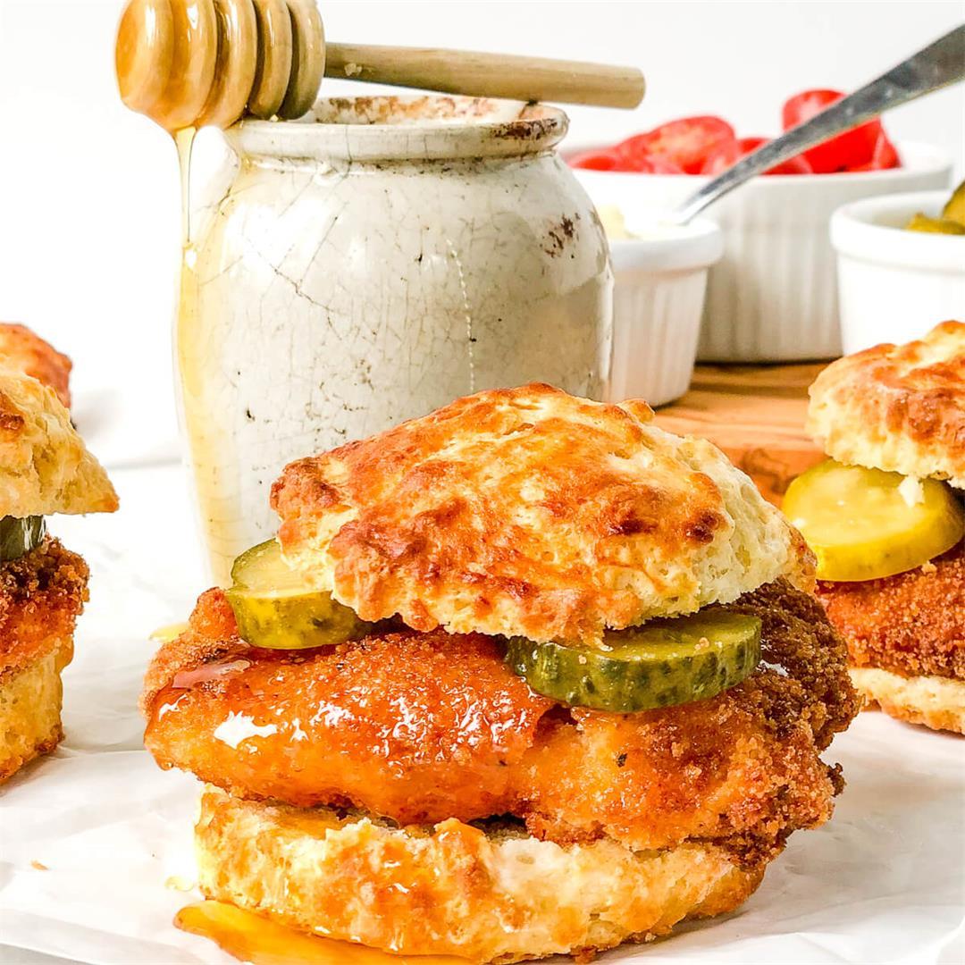 Spicy Fried Chicken Biscuit Sandwich